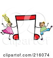 Royalty Free RF Clipart Illustration Of A Childs Sketch Of A Boy And Girl With A Red Music Note