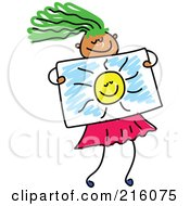 Royalty Free RF Clipart Illustration Of A Childs Sketch Of A Girl Holding A Drawing Of A Sun
