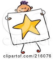 Royalty Free RF Clipart Illustration Of A Childs Sketch Of A Boy Holding A Drawing Of A Star