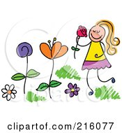 Royalty Free RF Clipart Illustration Of A Childs Sketch Of A Girl Picking And Smelling Flowers In A Garden