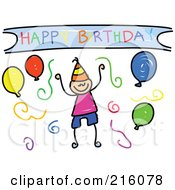 Royalty Free RF Clipart Illustration Of A Childs Sketch Of A Birthday Boy With Balloons And Confetti