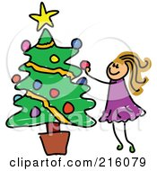 Royalty Free RF Clipart Illustration Of A Childs Sketch Of A Girl Decorating A Potted Christmas Tree by Prawny