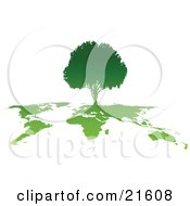 Clipart Illustration Graphic Of A Silhouetted Gradient Green Tree Growing On Top Of A World Map