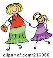Royalty Free RF Clipart Illustration Of A Childs Sketch Of A Mother Holding Hand With Her Blond Daughter