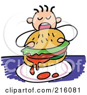 Royalty Free RF Clipart Illustration Of A Childs Sketch Of A Boy Eating A Messy Burger by Prawny