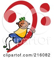 Royalty Free RF Clipart Illustration Of A Childs Sketch Of A Boy On A Red Music Base Clef