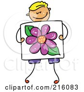 Royalty Free RF Clipart Illustration Of A Childs Sketch Of A Boy Holding A Drawing Of A Flower