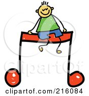 Royalty Free RF Clipart Illustration Of A Childs Sketch Of A Boy Sitting On A Music Note