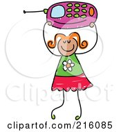 Royalty Free RF Clipart Illustration Of A Childs Sketch Of A Girl Holding Up A Pink Cell Phone by Prawny