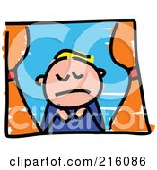 Royalty Free RF Clipart Illustration Of A Childs Sketch Of A Sad Boy Looking Out A Window