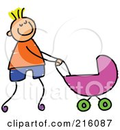 Royalty Free RF Clipart Illustration Of A Childs Sketch Of A Boy Pushing His Sisters Pram
