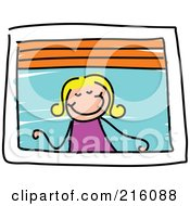 Royalty Free RF Clipart Illustration Of A Childs Sketch Of A Girl Looking Out A Window
