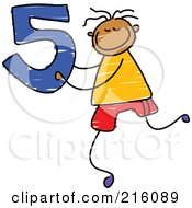 Royalty Free RF Clipart Illustration Of A Childs Sketch Of A Boy Holding The Number 5