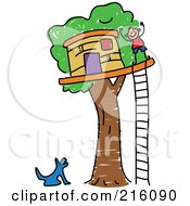 Royalty Free RF Clipart Illustration Of A Childs Sketch Of A Dog Barking At A Boy By His Tree House by Prawny
