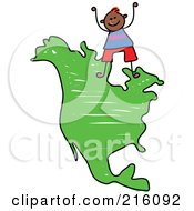 Royalty Free RF Clipart Illustration Of A Childs Sketch Of Boy Standing On A Map Of North America by Prawny