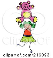 Royalty Free RF Clipart Illustration Of A Childs Sketch Of A Girl Holding A Pink Teddy Bear by Prawny