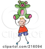 Royalty Free RF Clipart Illustration Of A Childs Sketch Of A Boy Carrying A Green Teddy Bear by Prawny