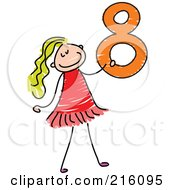 Royalty Free RF Clipart Illustration Of A Childs Sketch Of A Girl Carrying A 8 by Prawny
