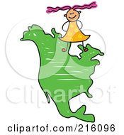 Royalty Free RF Clipart Illustration Of A Childs Sketch Of Girl Standing On A Map Of North America by Prawny