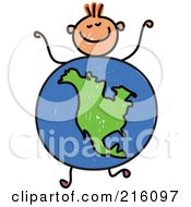 Royalty Free RF Clipart Illustration Of A Childs Sketch Of A Boy With An American Globe Body
