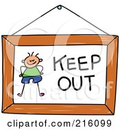 Royalty Free RF Clipart Illustration Of A Childs Sketch Of A Keep Out Sign