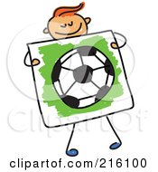 Royalty Free RF Clipart Illustration Of A Childs Sketch Of A Boy Holding A Drawing Of A Soccer Ball by Prawny