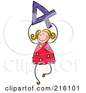 Royalty Free RF Clipart Illustration Of A Childs Sketch Of A Girl Carrying A 4