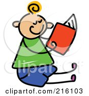 Royalty Free RF Clipart Illustration Of A Childs Sketch Of A Boy Sitting And Reading by Prawny