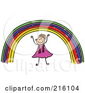 Royalty Free RF Clipart Illustration Of A Childs Sketch Of A Girl Under A Rainbow by Prawny