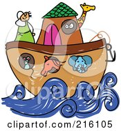 Royalty Free RF Clipart Illustration Of A Childs Sketch Of Noahs Ark by Prawny