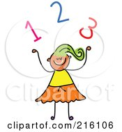 Childs Sketch Of A Girl Under Numbers