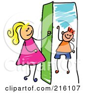 Royalty Free RF Clipart Illustration Of A Childs Sketch Of A Girl Opening A Door To A Boy