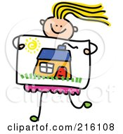 Royalty Free RF Clipart Illustration Of A Childs Sketch Of A Girl Holding A Drawing Of A House