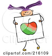 Royalty Free RF Clipart Illustration Of A Childs Sketch Of A Girl Holding A Drawing Of An Apple by Prawny