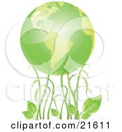 Clipart Illustration Graphic Of Tall Green Grasses And Organic Leaves Under Green Planet Earth
