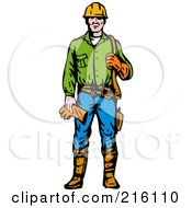 Royalty Free RF Clipart Illustration Of A Retro Lineman 1