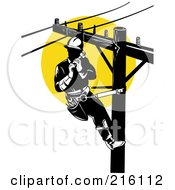 Royalty Free RF Clipart Illustration Of A Lineman On A Pole 5