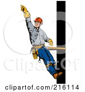 Royalty Free RF Clipart Illustration Of A Lineman On A Pole 3