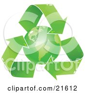 Green Earth Circled By Recycling Arrows Over A White Background