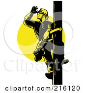 Royalty Free RF Clipart Illustration Of A Lineman On A Pole 6