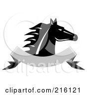 Royalty Free RF Clipart Illustration Of A Retro Black And White Horse Head Over A Blank Banner
