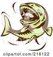 Royalty Free RF Clipart Illustration Of A Big Green Fish Eating A Little Fish