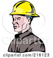 Royalty Free RF Clipart Illustration Of A Lineman In Profile Wearing A Yellow Helmet