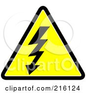 Royalty Free RF Clipart Illustration Of A Yellow Lineman Sign With Lightning