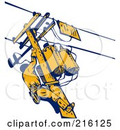 Royalty Free RF Clipart Illustration Of A Lineman On A Pole 1