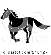 Royalty Free RF Clipart Illustration Of A Retro Black And White Horse Running