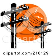 Royalty Free RF Clipart Illustration Of A Row Of Electric Poles