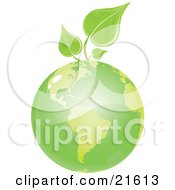 Clipart Illustration Graphic Of Organic Green Leaves Of A Plant Sprouting From Green Planet Earth