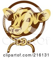Royalty Free RF Clipart Illustration Of A Retro Cow Face In A Rope Circle