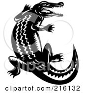 Royalty Free RF Clipart Illustration Of A Retro Black And White Crocodile by patrimonio